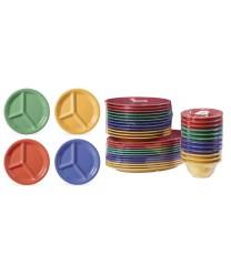 "GET Enterprises CP-10-MIX Diamond Mardi Gras Assorted Colors Three Compartment Plate, 10-1/4""(1 Dozen)"