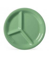 "GET Enterprises CP-10-FG Diamond Mardi Gras Rainforest Green Three Compartment Plate, 10-1/4""(1 Dozen)"
