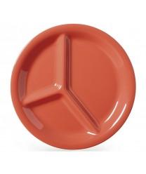 """GET Enterprises CP-10-RO Diamond Mardi Gras Rio Orange Three Compartment Plate 10-1/4""""(1 Dozen)"""