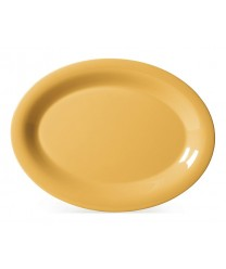 "GET Enterprises OP-135-TY Diamond Mardi Gras Tropical Yellow Oval Platter, 13-1/2""x 10-1/4""(1 Dozen)"