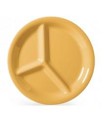 "GET Enterprises CP-10-TY Diamond Mardi Gras Tropical Yellow Three Compartment Plate, 10-1/4""(1 Dozen)"