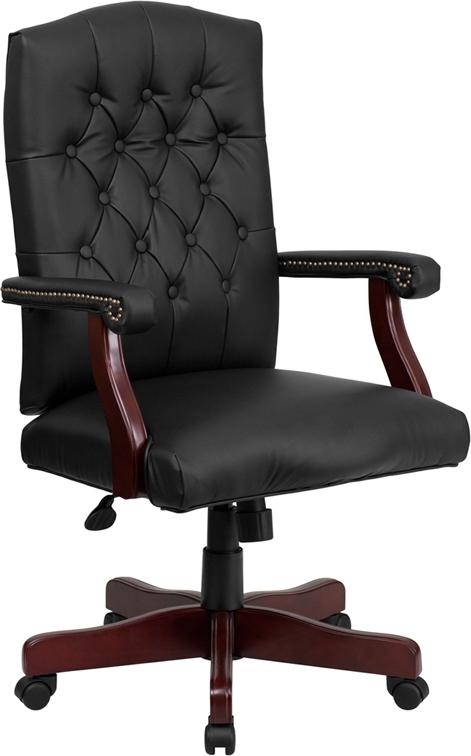 Flash Furniture Martha Washington Black Leather Executive Swivel Chair [801L-LF0005-BK-LEA-GG]