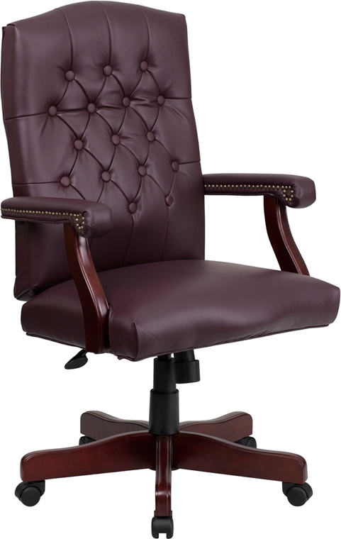 Flash Furniture Martha Washington Flash Furniture Burgundy Leather Executive Swivel Chair [801L-LF0019-BY-LEA-GG]