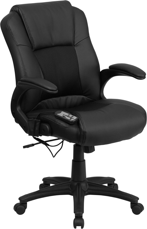 Flash Furniture Massaging  Black Leather Executive Office Chair [BT-2536P-1-GG]