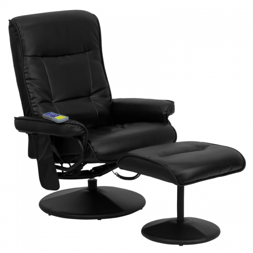 Flash Furniture Massaging  Black Leather Recliner and Ottoman with Leather Wrapped Base [BT-7320-MASS-BK-GG]