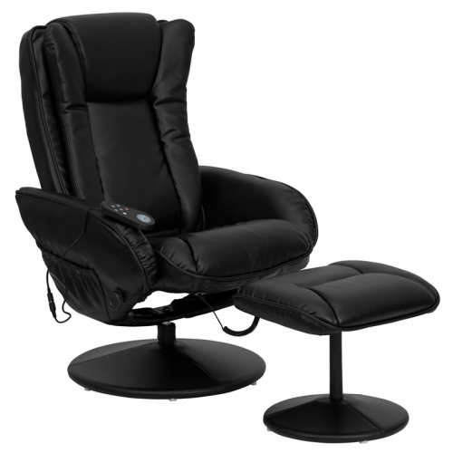 Flash Furniture Massaging  Black Leather Recliner and Ottoman with Leather Wrapped Base [BT-7672-MASSAGE-BK-GG]