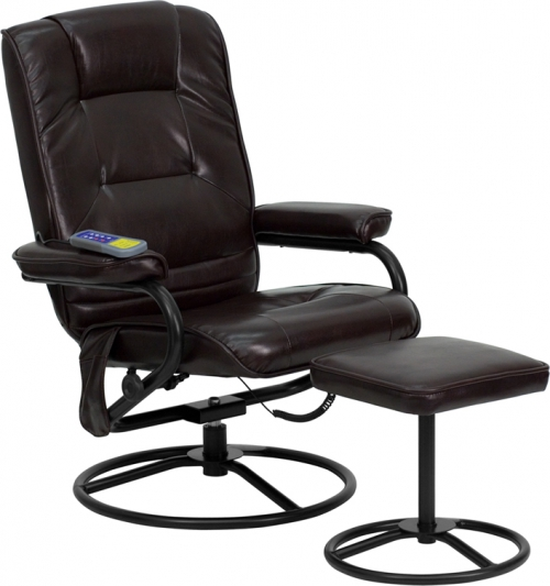 Flash Furniture Massaging Brown Leather Recliner and Ottoman with Metal Bases [BT-703-MASS-BN-GG]
