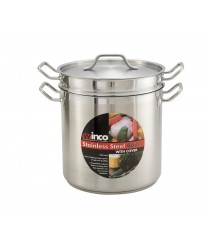 Winco SSDB-16 Master Cook Stainless Steel Double Boiler with Cover 16 Qt.