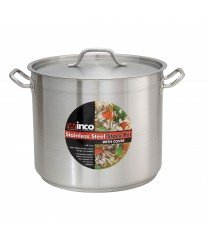 Winco SST-32 Stainless Steel Induction Stock Pot with Cover, 32 Qt.