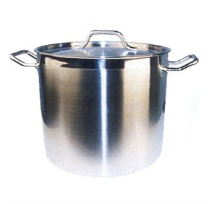Winco SST-80 Stainless Steel Induction Stock Pot with Cover 80 Qt.