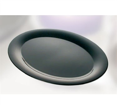 "Thunder Group RF2224BW Black Pearl Two Tone Oval Platter 22"" x 16-1/2"" (2 Pieces)"