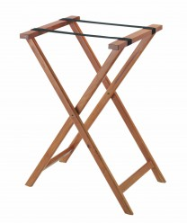 Aarco TS-2 Medium Stain Wood Folding Tray Stand