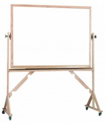 """Aarco WRC3648 Reversible Free Standing White Melamine Markerboard with Red Oak Frame 36"""" x 48"""""""