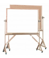 "Aarco WRBC4872 Reversible Free Standing Melamine Markerboard / Natural Cork Board with Oak Frame 48"" x 72"""
