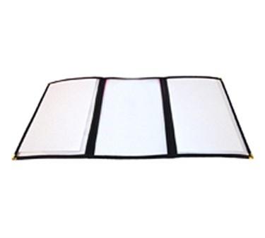 "Winco PMCT-9K Black Triple Fold Menu Cover 9-1/2"" x 12"""