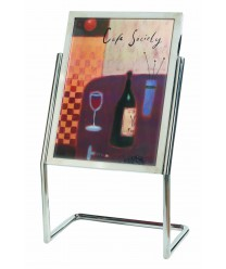 Aarco P-15C Broadcaster Display Menu and Poster Holder with Chrome Base and Frame