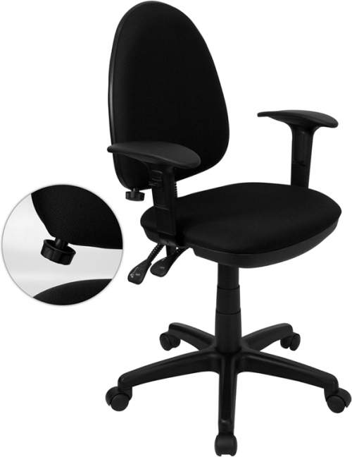 Flash Furniture Mid-Back Black Fabric Multi-Functional Task Chair with Arms and Adjustable Lumbar Support [WL-A654MG-BK-A-GG]