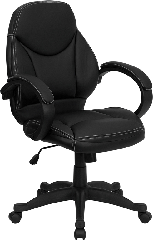 Flash Furniture Mid-Back Black Leather Flash Furniture Contemporary Office Chair [H-HLC-0005-MID-1B-GG]