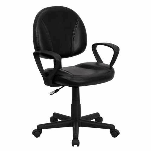 Flash Furniture Mid-Back Black Leather Ergonomic Task Chair with Arms [BT-688-BK-A-GG]