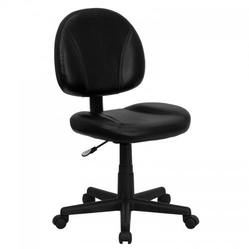 Flash Furniture Mid-Back Black Leather Ergonomic Task Chair [BT-688-BK-GG]