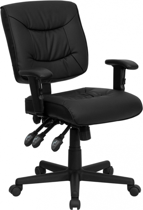 Flash Furniture Mid-Back Black Leather Multi-Functional Task Chair with Height Adjustable Arms [GO-1574-BK-A-GG]