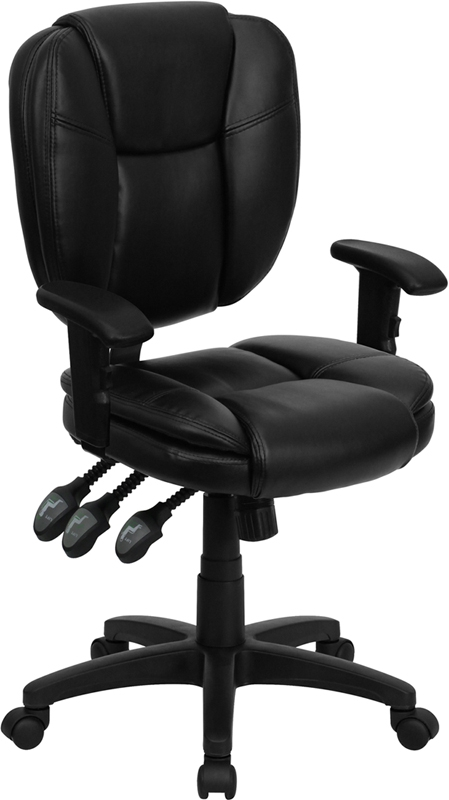 Flash Furniture Mid-Back Black Leather Multi-Functional Ergonomic Task Chair with Arms [GO-930F-BK-LEA-ARMS-GG]