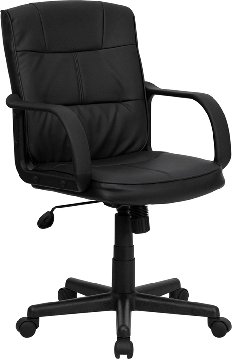 Flash Furniture Mid-Back Black Leather Office Chair with Nylon Arms [GO-228S-BK-LEA-GG]