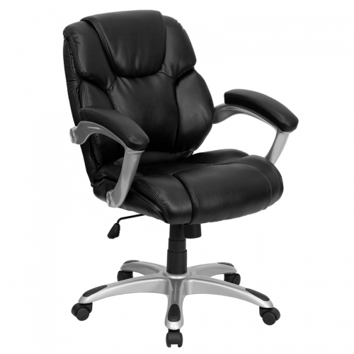 Flash Furniture Mid-Back Black Leather Office Task Chair [GO-931H-MID-BK-GG]