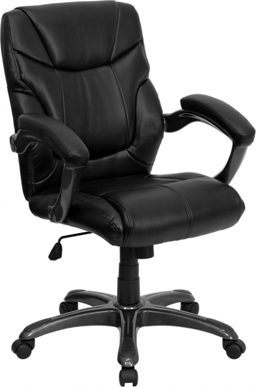 Flash Furniture Mid-Back Black Leather Overstuffed Office Chair [GO-724M-MID-BK-LEA-GG]