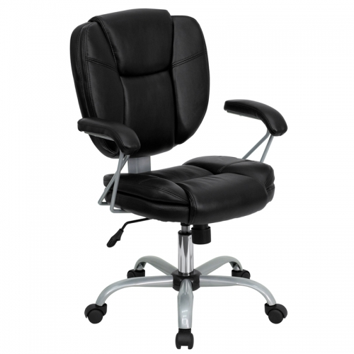 Flash Furniture Mid-Back Black Leather Task and Computer Chair [GO-930-BK-GG]