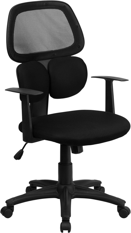 Flash Furniture Mid-Back Black Mesh Chair with Flexible Dual Lumbar Support [BT-2755-BK-GG]