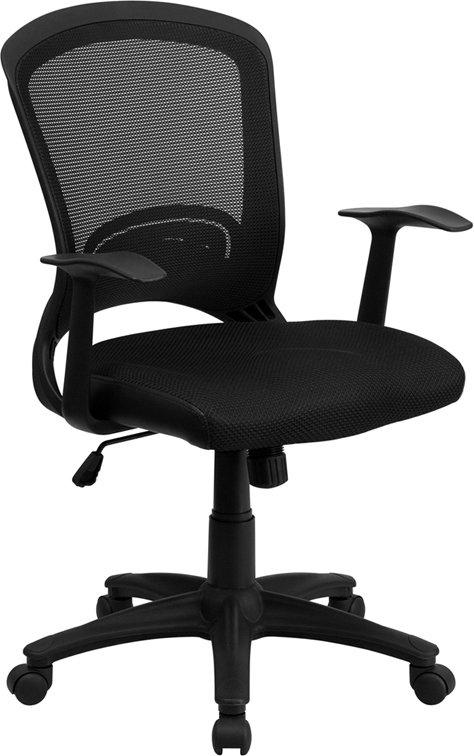 Flash Furniture Mid-Back Black Mesh Chair with Padded Mesh Seat [HL-0007-GG]