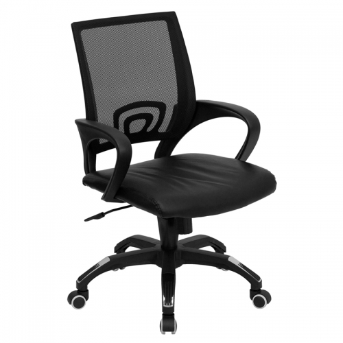 Flash Furniture Mid-Back Black Mesh Computer Chair with Black Leather Seat [CP-B176A01-BLACK-GG]