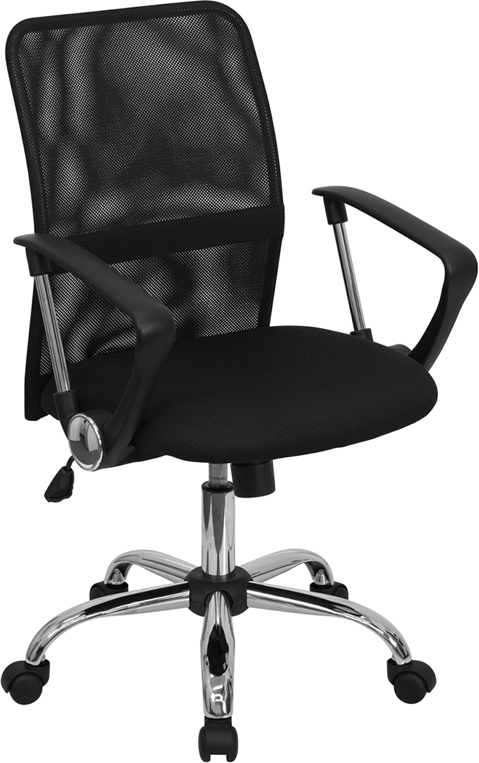 Flash Furniture Mid-Back Black Mesh Computer Chair with Chrome Finished Base [GO-6057-GG]