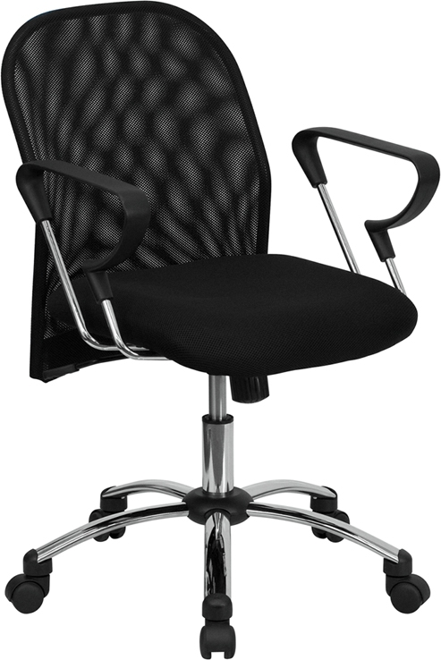 Flash Furniture Mid-Back Black Mesh Office Chair with Chrome Base [BT-215-GG]