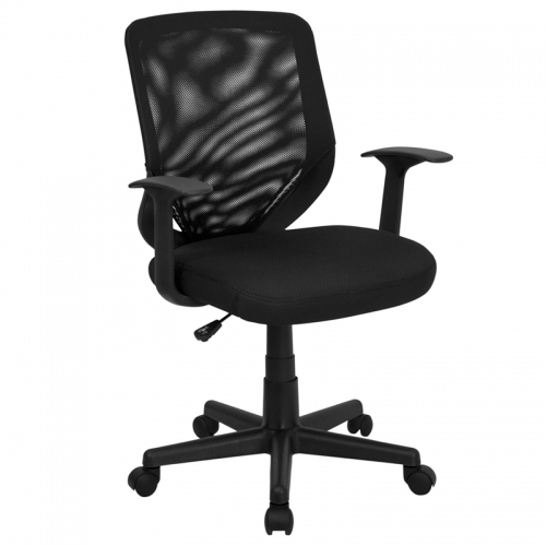 Flash Furniture Mid-Back Black Mesh Office Chair with Mesh Fabric Seat [LF-W-95A-BK-GG]
