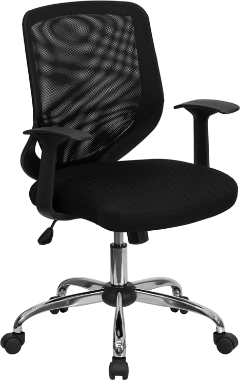 Flash Furniture Mid-Back Black Mesh Office Chair with Mesh Fabric Seat [LF-W95-MESH-BK-GG]