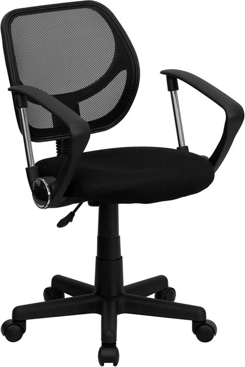 Flash Furniture Mid-Back Black Mesh Task Chair and Computer Chair with Arms [WA-3074-BK-A-GG]