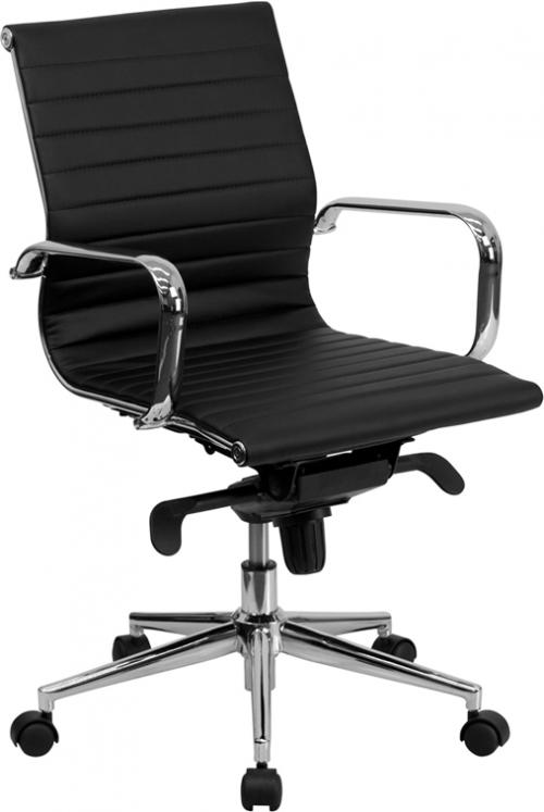 Flash Furniture Mid-Back Black Ribbed Upholstered Leather Conference Chair [BT-9826M-BK-GG]