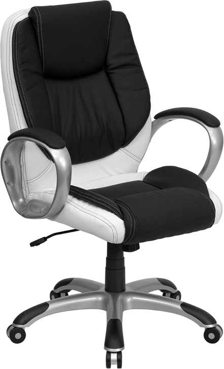 Flash Furniture Mid-Back Black and Flash Furniture White Leather Executive Swivel Office Chair [CH-CX0217M-GG]