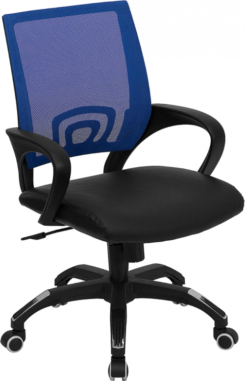 Flash Furniture Mid-Back Blue Mesh Computer Chair with Black Leather Seat [CP-B176A01-BLUE-GG]