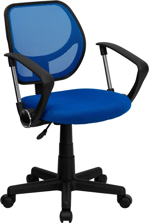 Flash Furniture Mid-Back Blue Mesh Task Chair and Computer Chair with Arms [WA-3074-BL-A-GG]