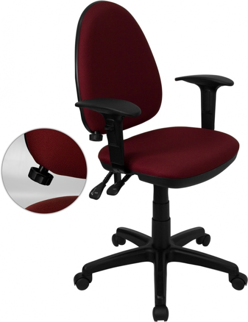 Flash Furniture Mid-Back Burgundy Fabric Multi-Functional Task Chair with Arms and Adjustable Lumbar Support [WL-A654MG-BY-A-GG]