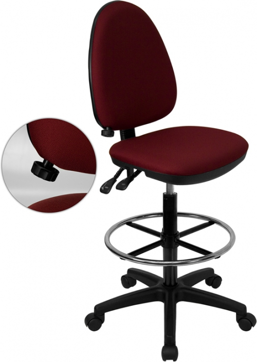 Flash Furniture Mid-Back Burgundy Fabric Multi-Functional Drafting Stool with Adjustable Lumbar Support [WL-A654MG-BY-D-GG]