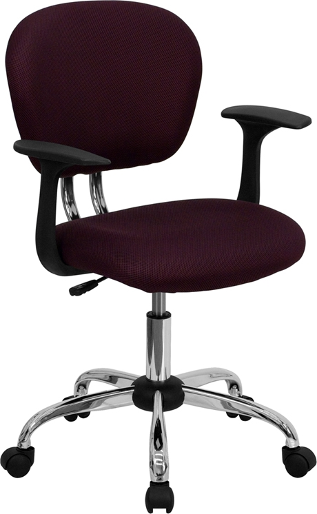 Flash Furniture Mid-Back Burgundy Mesh Task Chair with Arms and Chrome Base [H-2376-F-BY-ARMS-GG]