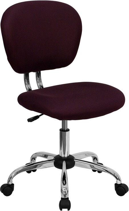 Flash Furniture Mid-Back Burgundy Mesh Task Chair with Chrome Base [H-2376-F-BY-GG]