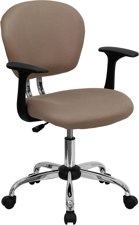 Flash Furniture Mid-Back Coffee Brown Mesh Task Chair with Arms and Chrome Base [H-2376-F-COF-ARMS-GG]