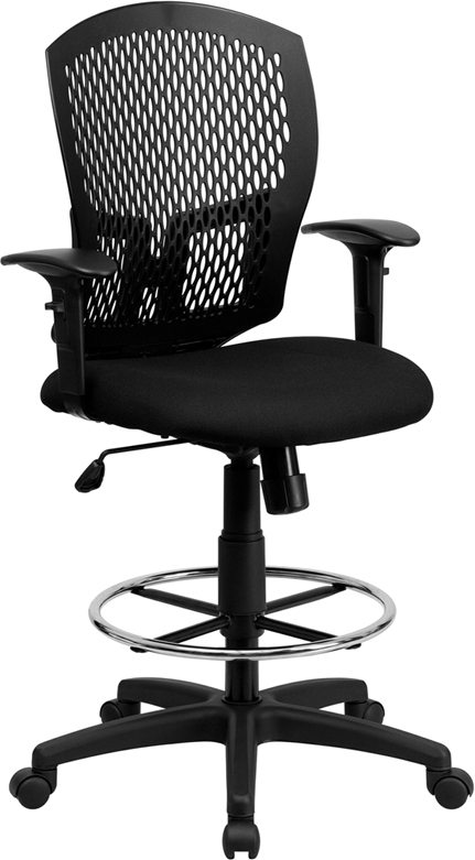Flash Furniture Mid-Back Designer Back Drafting Stool with Padded Fabric Seat and Arms [WL-3958SYG-BK-AD-GG]