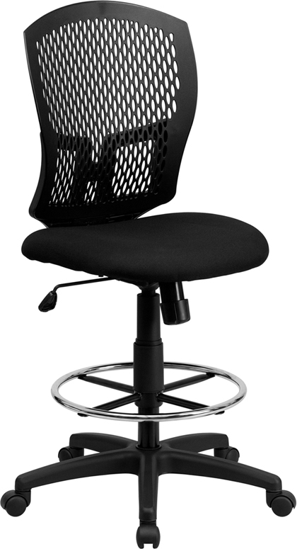 Flash Furniture Mid-Back Designer Back Drafting Stool with Padded Fabric Seat [WL-3958SYG-BK-D-GG]