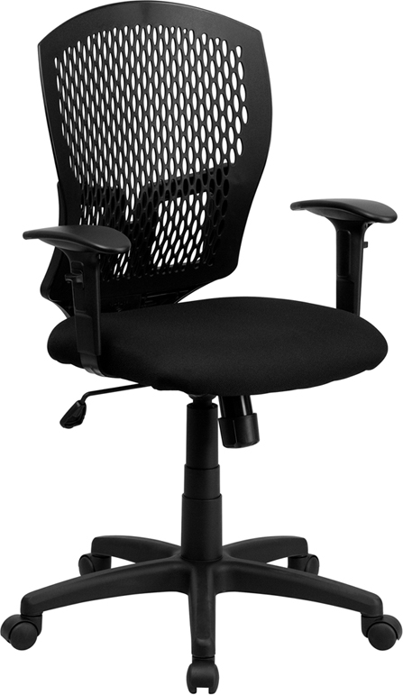 Flash Furniture Mid-Back Designer Back Task Chair with Padded Fabric Seat and Arms [WL-3958SYG-BK-A-GG]